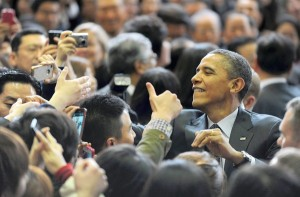 President Obama greets attendes after delivering remarks during a visit to Hankuk University of Foreign Studies in Seoul on March 26, 2012. (Image Source: LA Times)