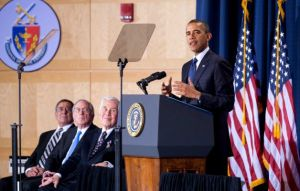 President Barack Obama speaks Dec. 3, 2012 along with Secretary of Defense Panetta, fmr. Sen. Sam Nunn, and Sen. Dick Lugar.