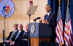 President Barack Obama speaks Dec. 3, 2012 along with Secretary of Defense Panetta, fmr. Sen. Sam Nunn, and Sen. Dick Lugar.