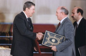President Reagan and General Secretary Gorbachev at the signing of the INF Treaty in the White House. (Click image for video of the remarks made.)