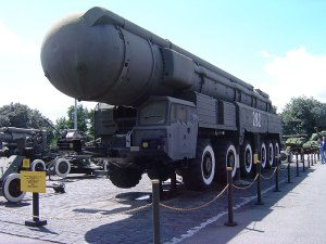 A Soviet SS-20 IRBM, on display near the Great Patriotic War Museum, Kiev. August 2005.