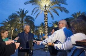 U.S. Secretary of Defense Chuck Hagel speaks with reporters after reading a statement on chemical weapon use in Syria during a press conference in Abu Dhabi, United Arab Emirates on Thursday, April 25, 2013.  (Image source: AP)