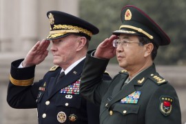 Martin Dempsey, chairman of the Joint Chiefs of Staff, left, and Fang Fenghui, chairman of the People's Liberation Army General Staff, in Beijing on April 22, 2013. (Image Source: Andy Wong/Pool via Getty Images)