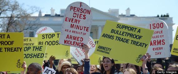 US-POLITICS-ARMS TRADE TREATY-PROTEST