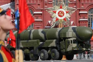 Russian Topol-M ICBM crosses Red Square in Moscow during a Victory Day parade on May 9, 2008.  (Image source: AFP/Getty Images)