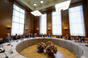 Officials from the P5+1 countries meet with Iranian officials in Geneva on October 15 for negotiations on Iran's nuclear program.