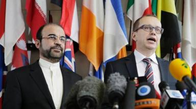 Tero Varjoranta,  IAEA Deputy Director General and Head of the Department of Safeguards and Iranian Ambassador to the IAEA Reza Najafi address the press on Oct. 29 after two days of talks in Vienna.