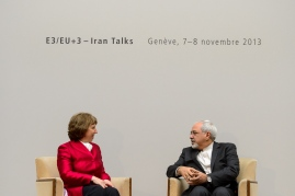 EU foreign policy chief Catherine Ashton meets with Iranian Foreign Minister  Javad Zarif on Nov. 7,  before the start of the nuclear talks between Iran and the P5+1.  (FABRICE COFFRINI/AFP/GettyImages)