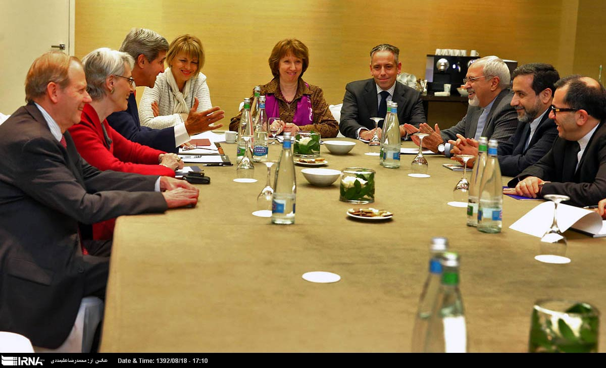 US Secretary of State John Kerry meets with Catherine Ashton, lead negotiator for the P5+1, and Iranian Foreign Minister Javad Zarif in Geneva on Nov. 9.