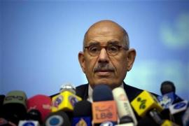 Mohamed ElBaradei speaks at a press conference during his tenure as Director-General of the IAEA.