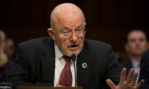 Director of National Intelligence James Clapper testifies on Capitol Hill in Washington, Wednesday, Jan. 29, 2014, before the Senate Intelligence Committee hearing on current and projected national security threats against the US. (AP Photo/Pablo Martinez Monsivais)