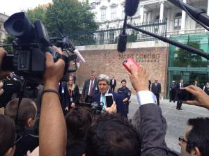 Secretary of State John Kerry outside the Coburg Palace Hotel, Vienna