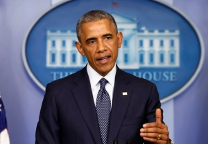 President Barack Obama speaks about several foreign policy issues, including an update on the P5+1 and Iran nuclear talks in the James Brady Press Briefing Room, Wednesday, July 16, 2014. (AP Photo/Charles Dharapak)