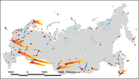 """A 2001 report by the Natural Resources Defense Council details the effects of a """"precision"""" nuclear attack on nuclear forces in Russia. This map shows how radioactive fallout would spread across the Russian landmass, creating lethal conditions over an area exceeding 300,000 square miles—larger in size than France and the United Kingdom. NRDC's nuclear war simulation demonstrates that between 8 and 12 million people would die in a U.S. attack on Russia's nuclear forces; more would die if other targets, including military and leadership; war-supporting infrastructure were also included in the nuclear strike. (Source: """"The U.S. War Plan: A Time for Change,"""" June 2001.)"""