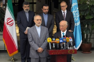 IAEA Director General Yukiya Amano talks to press during an Aug. 17 visit to Tehran. (photo: IAEA)