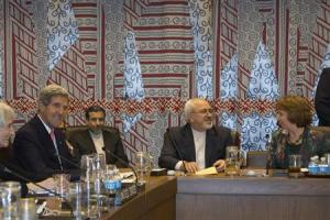 U.S. Secretary of State John Kerry meets with Iranian Foreign Minister Javad Zarif last September during the UN General Assembly. Kerry and Zarif met again Sept 21, 2014 to continue nuclear talks. (photo credit: Reuters)