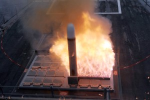A tactical Tomahawk cruise missile launch from a Mk-41 VLS. (U.S. Navy photo by Mass Communication Specialist 1st Class Leah Stiles/Released.)