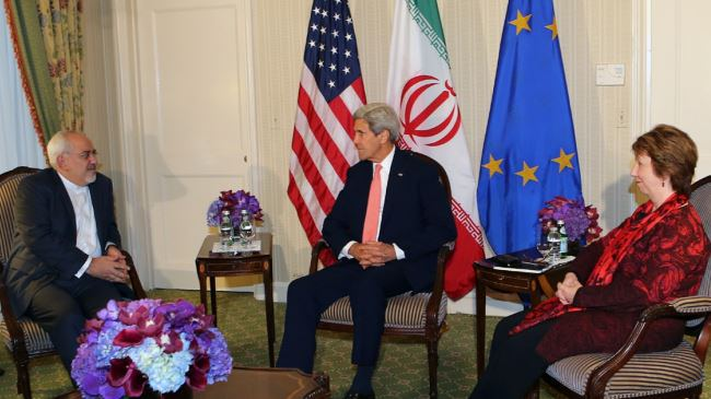 Iranian Foreign Minister Javad Zarif, U.S. Secretary of State' John Kerry, and European Union High Representativ Catherine Ashton meet Sept. 25 at the Waldorf Astoria in New York.